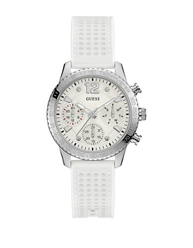 Guess Chronograph Silvertone Perforated Silicone Strap Watch-SILVER-One Size