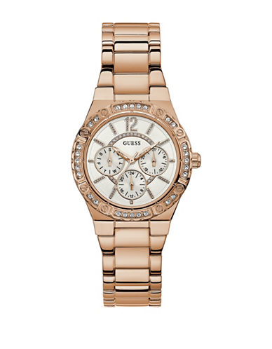 Guess Chronograph Crystal Bezel Rose-Goldtone Bracelet Watch-ROSE GOLD-One Size
