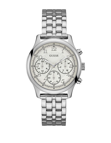 Guess Chronograph Silvertone Bracelet Watch-SILVER-One Size