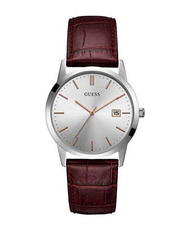 Guess Analog Silvertone Case Burgundy Croc-Embossed Leather Strap Watch-SILVER-One Size