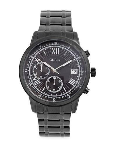 Guess Chronograph Stainless Steel and Leather-Strap Watch-BLACK-One Size
