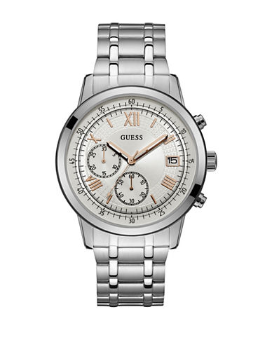 Guess Chronograph Roman Stainless Steel Bracelet Watch-SILVER-One Size