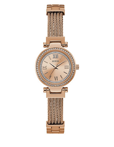 Guess Analog Braided Mini Rose-Goldtone Bracelet Watch-ROSE GOLD-One Size
