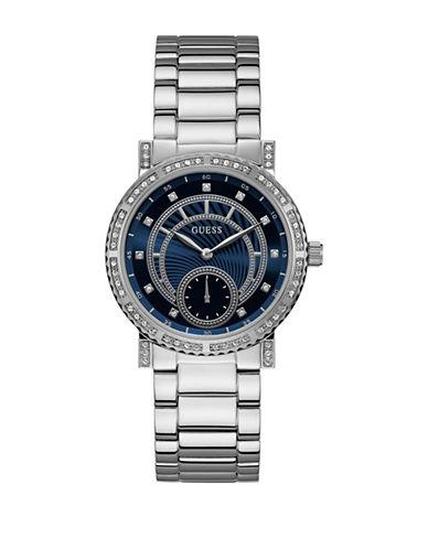 Guess Chronograph Crystal Dot Silvertone Bracelet Watch-SILVER-One Size