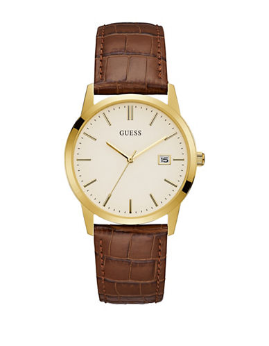 Guess Analog Goldtone Case Brown Croc-Embossed Leather Strap Watch-GOLD-One Size