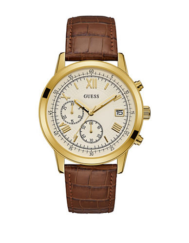 Guess Chronograph Brown Croc-Embossed Leather Strap Watch-GOLD-One Size