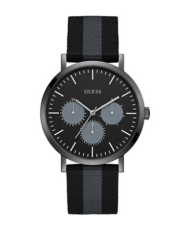 Guess Chronograph Black-Grey Nylon Canvas Strap Watch-BLACK-One Size