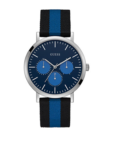 Guess Chronograph Black-Blue Nylon Canvas Strap Watch-BLACK-One Size