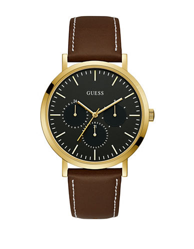Guess Chronograph Sunray Black Dial Brown Leather Strap Watch-GOLD-One Size