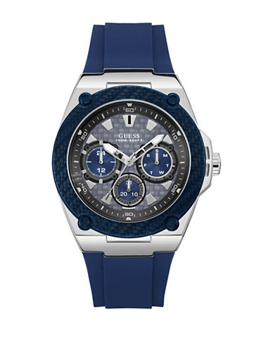 Guess Chronograph Silvertone Case Blue Silicone Strap Watch-BLUE-One Size