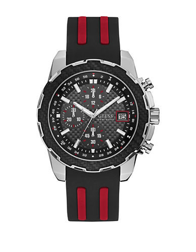 Guess Chronograph Silvertone Contrast Silicone Strap Watch-BLACK-One Size