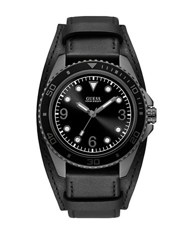 Guess Leather Cuff Watch-BLACK-One Size