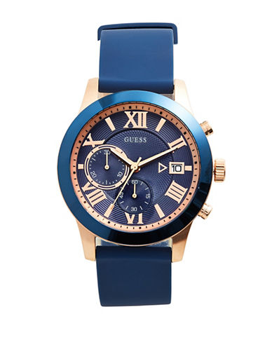 Guess Chronograph Blue Silicone Strap Watch-BLUE-One Size