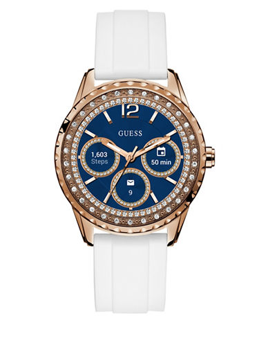 Guess Analog Touchscreen Rosegold Silicone Strap Watch-ROSE GOLD-One Size