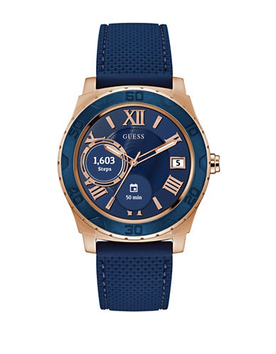 Guess Analog Touchscreen Aluminum Silicone Strap Watch-ROSE GOLD-One Size