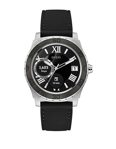 Guess Analog Touchscreen Silicone Strap Watch-SILVER-One Size