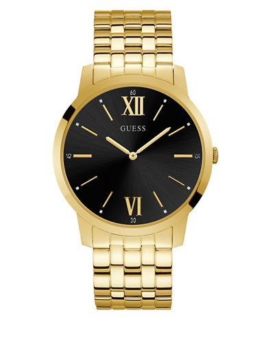 Guess Black Dial Goldtone Stainless Steel Bracelet Watch-GOLD-One Size
