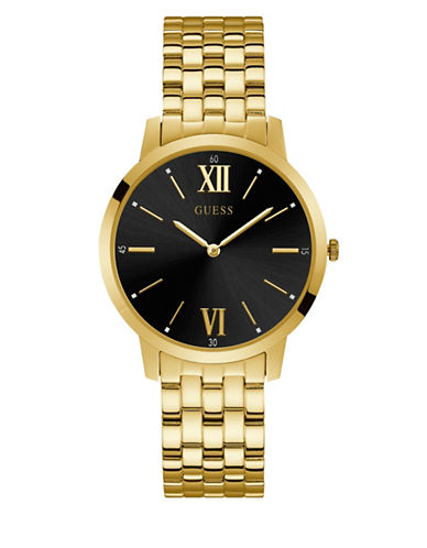 Guess Work Life Collection Goldtone Stainless Steel Link Bracelet Watch-GOLD-One Size