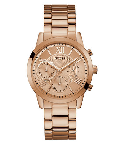 Guess Casual Life Collection Chronograph Rose Goldtone Stainless Steel Link Bracelet Watch-ROSE GOLD-One Size