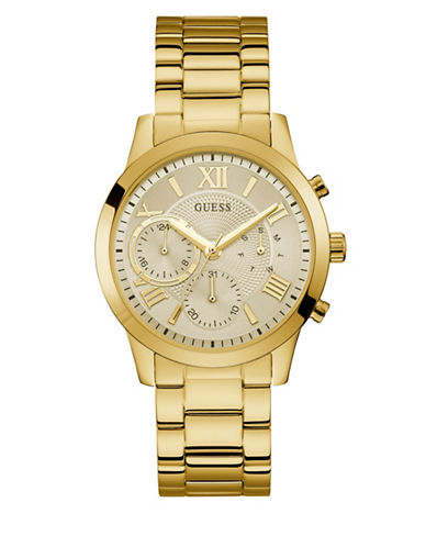 Guess Casual Life Collection Chronograph Goldtone Stainless Steel Link Bracelet Watch-GOLD-One Size