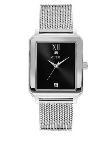 Guess Work Life Collection Stainless Steel Mesh Bracelet Watch-SILVER-One Size