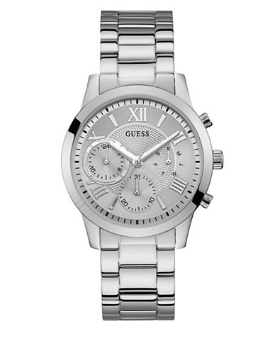 Guess Casual Life Collection Chronograph Stainless Steel Link Bracelet Watch-SILVER-One Size