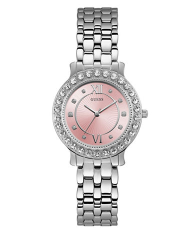 Guess Blush Dial Stainless Steel Bracelet Watch-SILVER-One Size