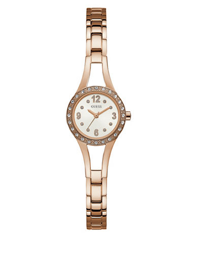 Guess Work Life Collection Rose Goldtone Stainless Steel Link Bracelet-ROSE GOLD-One Size
