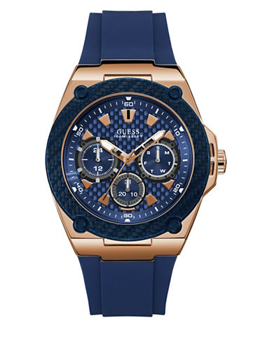 Guess Active Life Collection Rose Goldtone and Navy Stainless Steel Silicone Strap Watch-BLUE-One Size