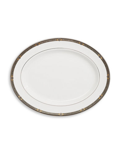 Lenox Vintage Jewel Patterned Oval Platter-WHITE-One Size