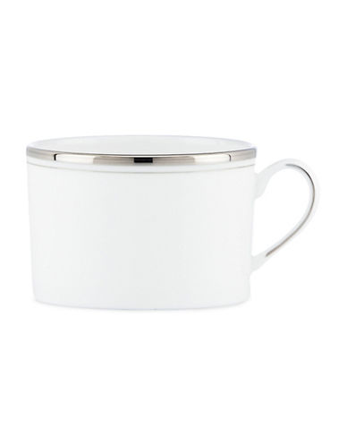 Kate Spade New York Library Lane Platinum-Trim Bone China Cup-WHITE-One Size