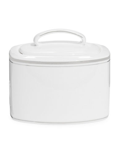 Kate Spade New York Library Lane Platinum Sugar Bowl with Lid-WHITE-One Size