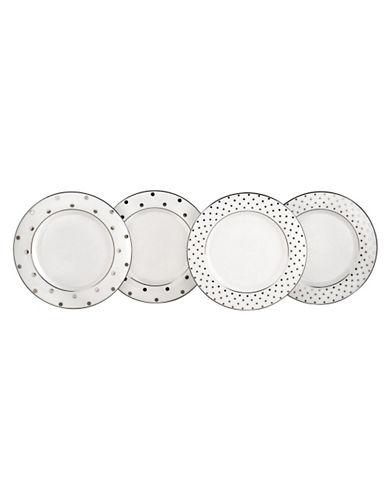 Kate Spade New York Larabee Rd Platinum Tidbit Plates Set Of 4-WHITE-One Size
