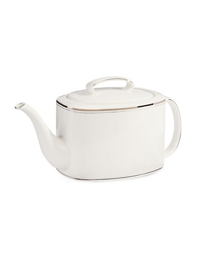 Kate Spade New York Library Lane Platinum Teapot with Lid-WHITE-One Size