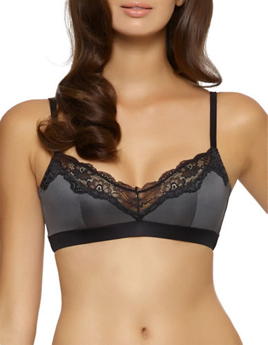 Unveiled Entre-Doux Lace Trimmed Bra-GREY-Large