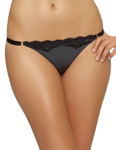 Unveiled Entre-Doux Lace Trimmed Thong-BLACK/GREY-Small