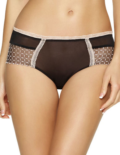 Unveiled Bissette Geometric Embroidered Boyleg Panty-BLACK-Medium