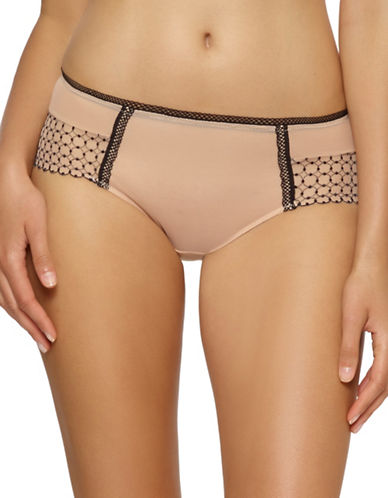 Unveiled Bissette Geometric Embroidered Boyleg Panty-BEIGE-X-Large