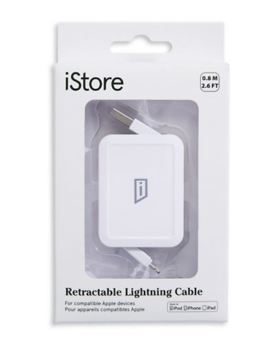 Istore Retractable Lightning Cable-WHITE-One Size