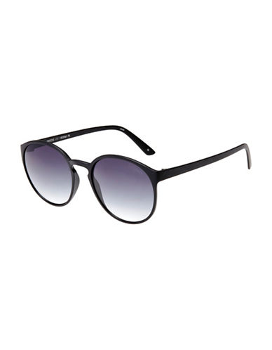 Le Specs Swizzle 53mm Round Sunglasses-BLACK-One Size