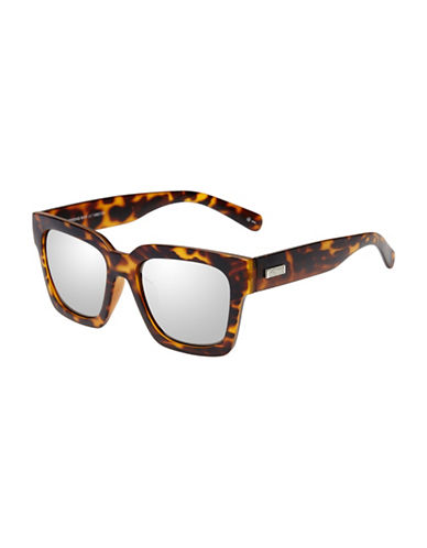 Le Specs Weekend Riot 55mm Rectangular Sunglasses-BROWN-One Size