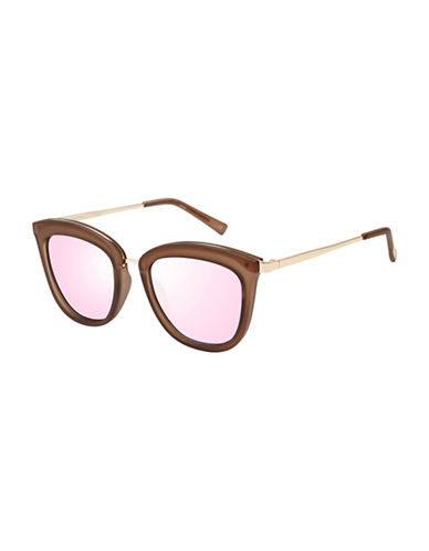 Le Specs Caliente 51mm Round Sunglasses-BROWN-One Size