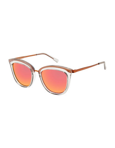 Le Specs Caliente 51mm Round Sunglasses-RED-One Size