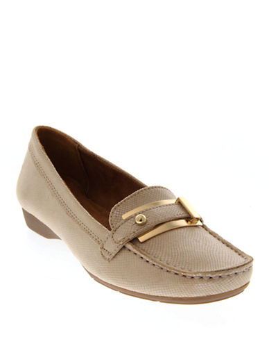 Naturalizer Gisella Buckled Textured Loafers-TAUPE-7.5