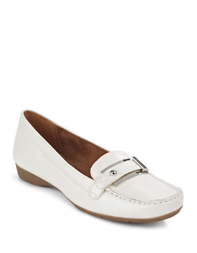 Naturalizer Gisella Buckled Textured Loafers-WHITE-8