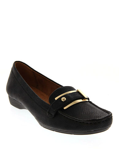Naturalizer Gisella Buckled Textured Loafers-BLACK-8W