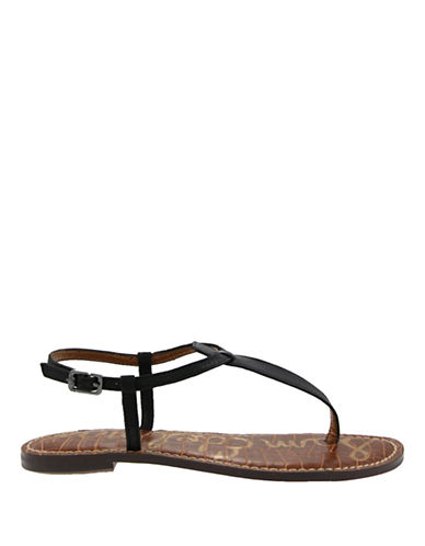 Sam Edelman Gigi Snake-Embossed T-Strap Sandals-BLACK LEATHER-5.5