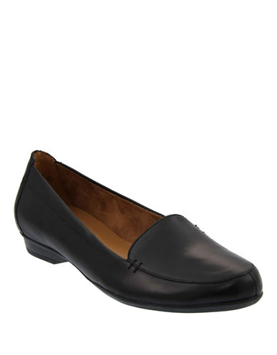 Naturalizer Leather Loafers-BLACK-7W