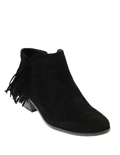 Sam Edelman Paige Fringe Suede Ankle Boots-BLACK-6