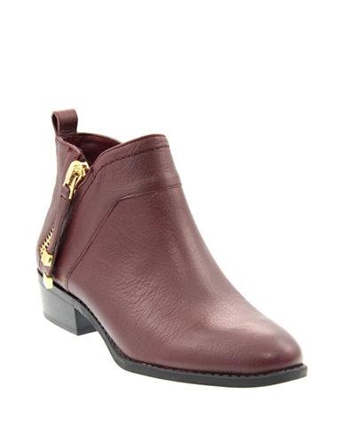 Franco Sarto Sondra Leather Zip Booties-BORDEAUX-8.5